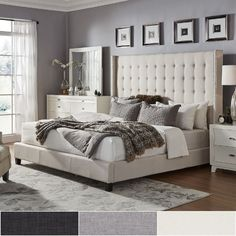 ✔️ 43 Beautiful Bedrooms Master Decoration Ideas With Furnishing Contemporary 40 King Size Bed Headboard, Beige Headboard, Tall Headboard, King Size Bed Frame, Tufted Bed, Bedding Master Bedroom, Upholstered Platform Bed, Headboards For Beds, Bedroom Decor