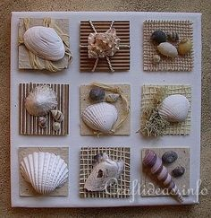 Summer Seashells Craft - Canvas With Seashell.  Link will not work when I put it in so here it is for directions, copy & paste this link: http://www.craftideas.info/html/seashells_inchies_d.html#