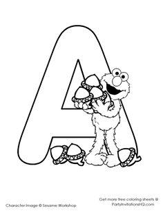 With Sesame Street Alphabet Coloring Page