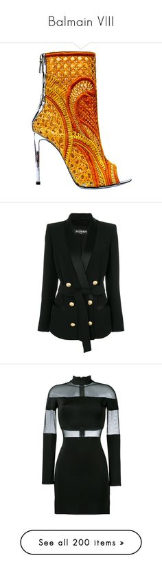 """Balmain VIII"" by bianca-cazacu ❤ liked on Polyvore featuring shoes, balmain, outerwear, jackets, blazers, black, long sleeve blazer, tailored jacket, double breasted jacket and long jacket"