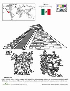 Second Grade Fourth Grade Places Geography Worksheets: Color the World! Chichen Itza