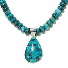 """Jay King Turquoise Doublet Sterling Silver Pendant with 18"""" Beaded Necklace at HSN.com"""
