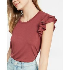 Express Double Ruffle Shoulder Scoop Neck Tee ($21) ❤ liked on Polyvore featuring tops, t-shirts, orange, short t shirt, sexy tee, scoop-neck tees, red tee and sexy t shirts
