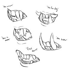 how to draw sharp teeth tutorials