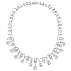 Estate Betteridge Collection Pear-Shaped Diamond Fringe Necklace