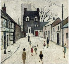 Street in Northleach - LS Lowry 1947 English Artists, Pastel Drawing, Naive Art, Urban Landscape, Banksy, Beautiful Paintings, Street Art, Illustration Art, My Arts