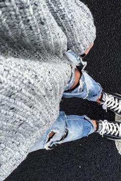 Bleach Wash Ripped Roll Cuff Jeans