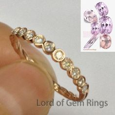 Moissanite Wedding Band Half Eternity Anniversary Ring 14K Rose Gold Hand Crafted - Lord of Gem Rings - 1