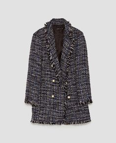 Image 8 of LONG TWEED JACKET WITH PEARL BEADS from Zara