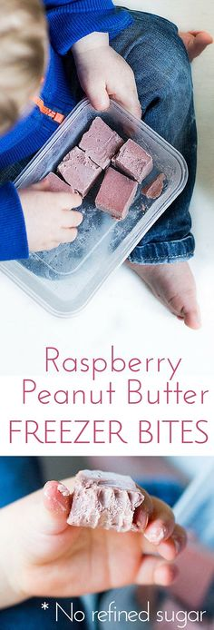 These raspberry peanut butter freezer bites are a perfect frozen treat for kids and adults. No refined sugar. Dairy Free. Gluten free.