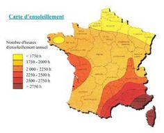 Frankrijk Kaart van zon of deposit - Renewables
