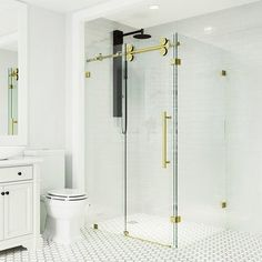 """Bring modern streamlined style to your bathroom with the VIGO Winslow Frameless Sliding Door Shower Enclosure. Stainless steel construction and 3/8"""" tempered glass ensures the enclosure's durability over time. The sliding door of the enclosure can be installed to open left or right, bringing a custom feel to your bathroom. With exclusive RollerDisk Technology to allow for adjustability, and a sturdy aluminum door threshold, this shower enclosure is as versatile as it is beautiful. SAFE AND SECUR Vigo Shower Doors, Shower Sliding Glass Door, Sliding Doors, Corner Shower Enclosures, Frameless Shower Enclosures, Shower Base, Aluminium Doors, Thing 1, Clear Glass"""