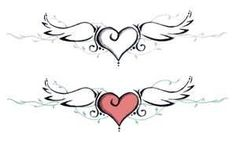 Heart and wing tattoo design