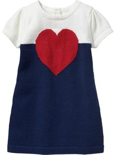 Color-Block Heart-Print Sweater Dresses for Baby Product Image