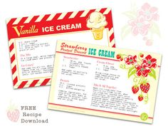 Vanilla Ice Cream And Strawberry Pretzel Dessert Printable Recipe Cards.