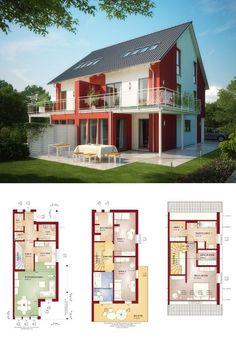 modernes doppelhaus mit pultdach grundriss haus celebration 131 v6 l vom bien zenker. Black Bedroom Furniture Sets. Home Design Ideas