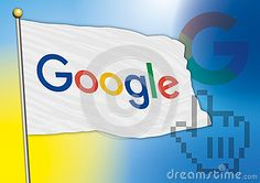 Vector file, editorial use, google flag with new logo 2015