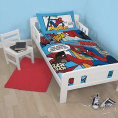 Spiderman Junior Bedding - Thwip http://www.childrens-rooms.co.uk/spiderman-junior-bedding-thwip.html #spidermanbedding #boyssuperherobedset #spidermantoddlersize