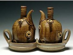 Town Hill Pottery by Todd Wahlstrom - Oil and Vinegar Set - Stoneware with Porcelain Sprigs
