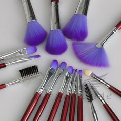 Pro 16 Piece Makeup Brush Set + Purple Pouch is going up for auction at  5pm Wed, Jun 5 with a starting bid of $5.