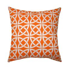 Modern Orange Throw Pillow - Linked In Tangerine Square or Lumbar Outdoor Decorative Pillow - FREE SHIPPING. $15.99, via Etsy.