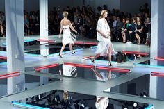 Produced and designed by Bureau Betak, Rodarte's September 11 show at Center548 featured a striking grid of mirrors with red and blue fluore... Photo: Courtesy of Bureau Betak