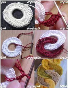 Collar Crochet Aros y Bolas Tutorial - Patrones Crochet Crochet Rings, Love Crochet, Crochet Flowers, Crochet Necklace, Crochet Chain, Crochet Crafts, Yarn Crafts, Crochet Projects, Crochet Motifs