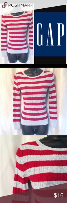 Red N' Gray~Stripe Sweater~Size XS GAP Striped Sweater Size XS. I'm always open for a good offer, don't hesitate to ask if it's reasonable. My prices can change daily so grab your favorite items while they last. Please if you are unsure about the size, I will measure and get back to you ASAP. I would like to avoid low ratings because of size matters when I will gladly measure for you 😀 If you have any questions let me know. Happy Shopping 😊 GAP Sweaters