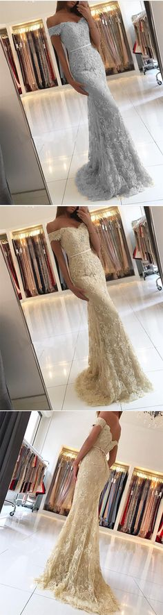 Sexy Mermaid Prom Dress, Lace Off Shoulder Party Dress, Long Evening Dress