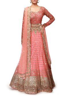 Pink anarkali suit adorn in sequin embroidery only on Kalki