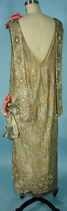 c. early 1920's RARE NUMBERED HOUSE OF REVILLE, Paris, London Dress of Gold Lame Lace and Beaded with Faux Pearls, Beads and Rhinestones with Large Silk Flowers and Gold Lame Ribbons Back 4