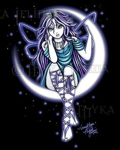Gothic Fairy Crescent Venus Moon Myka Jelina LTD CANVAS Embellished 8x10 #PopArt