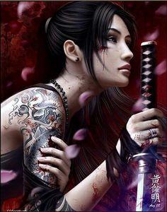 Warrior Girl, Samurai Warrior, Fantasy Warrior, Female Samurai Tattoo, Warrior Braid, Warrior Women, Samurai Swords, Geisha Tattoos, Fantasy Women