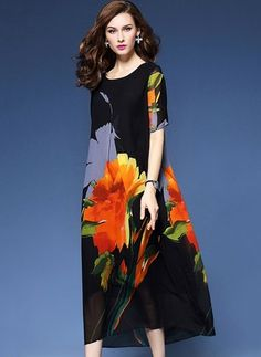 Silk Floral Short Sleeve Mid-Calf Vintage Dresses (1015776) @ floryday.com