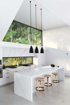 New Kitchen Lighting Gold Marble Countertops Ideas Modern Kitchen Cabinets, Glass Kitchen, Modern Kitchen Design, Interior Design Kitchen, New Kitchen, Island Kitchen, Kitchen Layout, Marble Kitchen Ideas, Modern White Kitchens