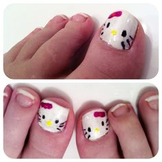 Hello Kitty Nail Art - I painted the base white, used a Sharpie for the black and coloured nail polish for bow & nose. It's hard cos I couldn't get close enough to my toes lol Nail Heart, White French Tip, Painted Toe Nails, Hello Kitty Nails, Spa Party, White Nails, Sharpie, Nail Ideas, Hair And Nails