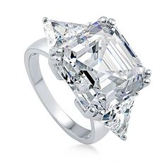 BERRICLE Rhodium Plated Sterling Silver Asscher Cut Cubic Zirconia CZ 3-Stone Engagement Ring Size 8