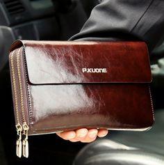 Hot Sale! Luxury Shining Oil Wax Cowhide Men Clutch Bag, Long Genuine Leather men wallets, Double Layer Business Clutch Bag – Shop Awesome Deals