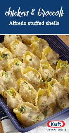 Chicken & Broccoli Alfredo Stuffed Shells – Shredded mozzarella cheese and grated Parmesan up this stuffed pasta recipe to new levels of cheesiness. Check out the full recipe to discover an easy recipe fit for your dinner table. Healthy Recipes, Great Recipes, Cooking Recipes, Pasta Dishes, Food Dishes, Main Dishes, Chicken Broccoli Alfredo, Chicken Alfredo Stuffed Shells, Stuffed Shells Recipe