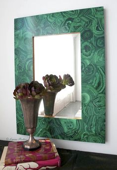 The Ornamentalist- faux malachite mirror frame painted by Lynne Rutter