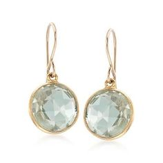 """Simple always looks chic. These earrings drop 7.00 ct. t.w. of shimmery green amethyst rounds, faceted and set in crisp bezels. Hanging length is 7/8"""". Earwire, 14kt yellow gold over sterling silver earrings. Free shipping & easy 30-day returns. Fabulous jewelry. Great prices. Since 1952."""