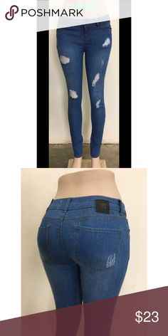 One Tuff Babe Cloud Washed Scratched Denim (new) Descriptions:  * 4-pocket, ankle length jeans, in washed stretch, mid-rise denim with regular waist, slim straight legs  * Maximize booty push-up and tummy flattening  Details: * Zip-fly, one button  * 75.4% cotton, 23.4% Polyester, 1.2% Spandex.  * Imported  * Machine wash cold, with like colors  * Various Junior sizes available: 1,3,5,7,9,11,13,15 •discount on wholesales available, please message   All sales are final.  Sold by Gleeup Inc…