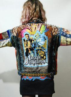 CRUX AND CROW Applique patch Jimmi Hendrix denim jacket, handmade.