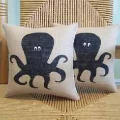 Octopus pillow Squid pillow Beach pillow by KelleysCollections