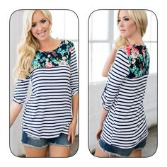 On the way! Adorable pattern top! Must have! FLORAL PRINT WITH STRIPE CONTRAST TOP WITH CUFFS DETAILS-AMAZING COLOR! Tops