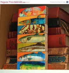 ON SALE 25% OFF Fish Art - Fish Sticks - Saltwater Fish Art Block Set of 7. $16.50, via Etsy.