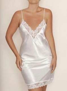 FARR WEST Comfortable and sexy silhouette. Bias cut signature anti-cling satin charmeuse full slip with delicate lace trim and plunging V neck.Most Flattering Dresses For Inverted Triangle because Dress 2018 Fashion India; Sexy Lingerie, Pretty Lingerie, Vintage Lingerie, Beautiful Lingerie, Satin Nightie, Satin Sleepwear, Lace Nightgown, Lace Slip, Satin Slip