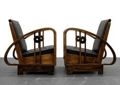 Pair of Antique French Art Deco Bentwood Lounge Chairs with Woven Leather 3