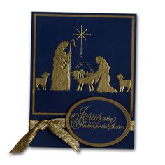 Stamped Embossed Nativity Christmas Card