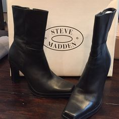 """Steve Madden Starlet Boots Black leather Steve Madden boots. 4"""" heel with slight platform (about 1/2inch). Zip up past ankle. Size 8 1/2. Only worn a few times. Like new. Leather is in great condition. Steve Madden Shoes Heeled Boots"""